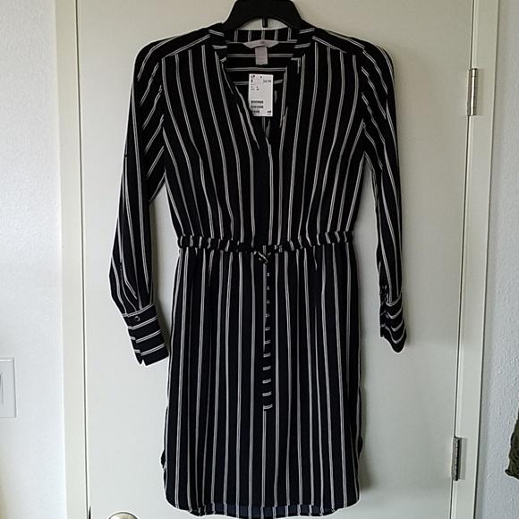 d9c31ec625 H&M Dresses | Black Shirt Dress With Beige And White Stripes | Poshmark